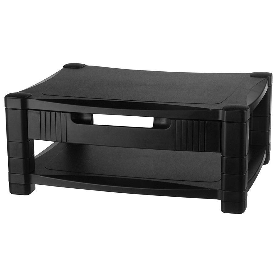 Adustable Monitor Stand Two Tier With Drawer Kantek Inc